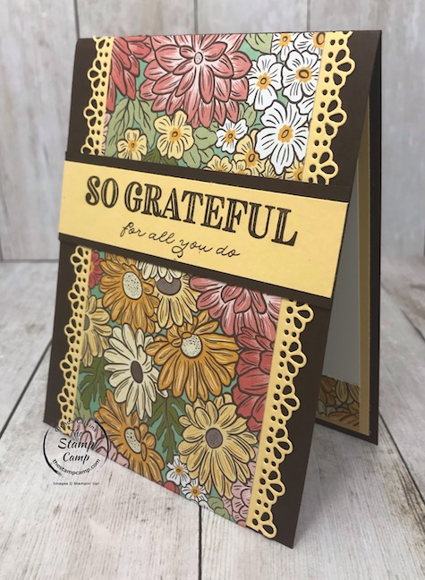 The Ornate Garden Specialty Designer Series Paper creates the perfect card/gift card holder for Mother's Day. Details are on my blog here: https://wp.me/p59VWq-aWG . #stampinup #mothersday #thestampcamp #giftcardholder