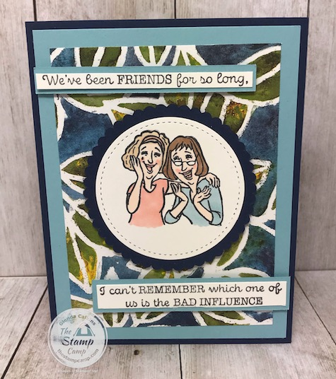 The Young At Heart Stamp Set features a huge cake, girls having fun, and happy chatter. Because some things never change. This set is retiring June 2, 2020. Details are on my blog here: https://wp.me/p59VWq-aXU #stampinup #retiredyoungatheart #thestampcamp