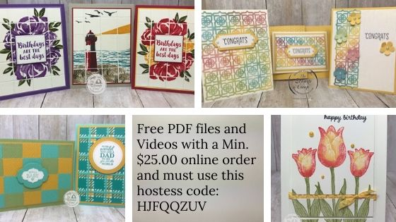 """Tuesday's Tips and Techniques cards for June 2020. Every Tuesday join me on my FaceBook page or YouTube Channel """"The Stamp Camp"""" at 7:30PM EST. I will show you a tip or technique or both. The PDF Files are free with a min. $25.00 online order and the use of the hostess code. Details are on my blog here: https://wp.me/p59VWq-bjj. #stampinup #thestampcamp #techniques"""