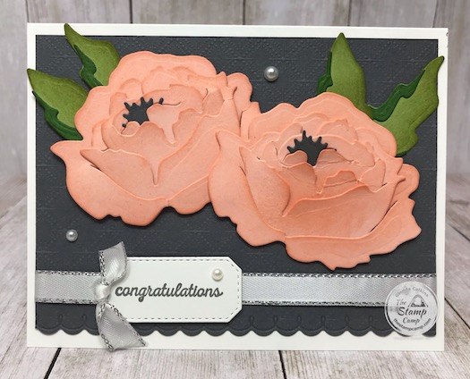 The Prized Peony Bundle from Stampin' Up! is so pretty and fun to work with. The dies are so easy to assemble and the Peony is almost 3D with all the layering. Add a little sponging to the flower before assembling and it comes together in a beautiful flower. Details are on my blog here: https://wp.me/p59VWq-bkB. #stampinup #thestampcamp #prizedpeony