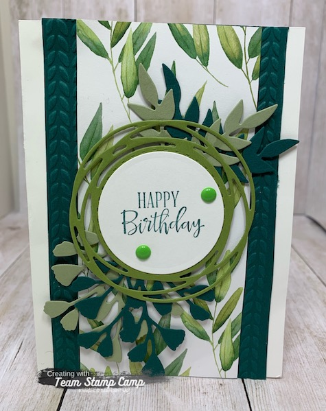 The Forever Greenery Suite is a very popular suite of products from Stampin' Ups! new annual catalog.  I love the rich green colors and this card brings them all out.  Details are on my blog here: https://wp.me/p59VWq-bnl. #stampinup #forevergreenery #thestampcamp