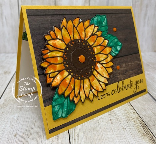 Bonus Card #4 for my featured stamp set for August the Celebrate Sunflowers Bundle. This card has a fun technique so you don't have to color in the images. Details are on my blog here: https://wp.me/p59VWq-bqI. #stampinup #thestampcamp #celebratesunflowers