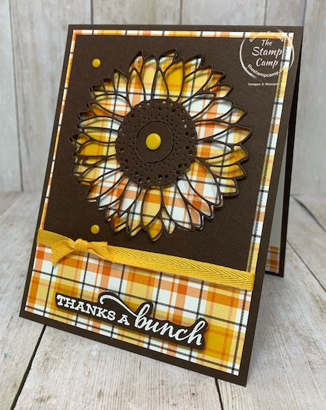Here is another peek-a-boo window card using the Celebrate Sunflowers Bundle. I love to create windows with dies or framelits as I did with this card. The Celebrate Sunflowers is my featured stamp set for August 2020. Details can be found on my blog here: https://wp.me/p59VWq-bpg. #stampinup #celebratesunflowers #thestampcamp #technique
