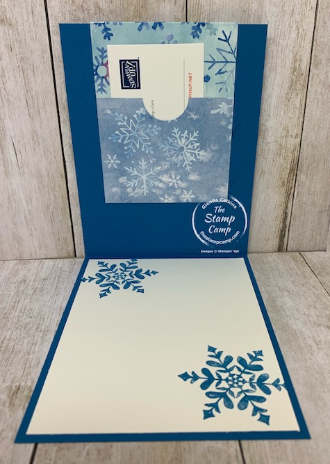 The Snowflake Splendor Designer Series Paper is beautiful on both sides so why not showcase both sides? Check out this card/gift card holder using the Snowflake Wishes Bundle and the Snowflake Splendor paper. Details are on my blog here: https://wp.me/p59VWq-brU. #stampinup #snowflake #thestampcamp #designerpaper
