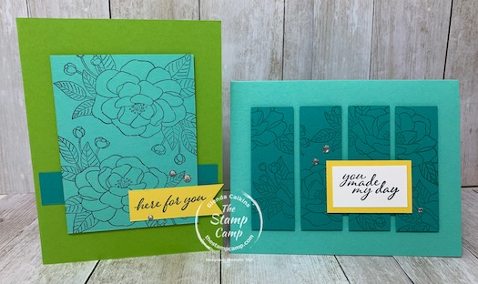 Would you like 2 FREE stamp sets? With your free stamp sets you will also get the cut card stock to create these 4 cards BUT 4 of each design for a total of 16 cards with envelopes. You will also get a package of Rhinestones, and a code for a Paper Pumpkin kit. Plus, choose $125 worth of Stampin' Up! products all for only $99.00! Details are on my blog here: https://wp.me/p59VWq-bsQ. #stampinup #thestampcamp #glendasblog #cardkit