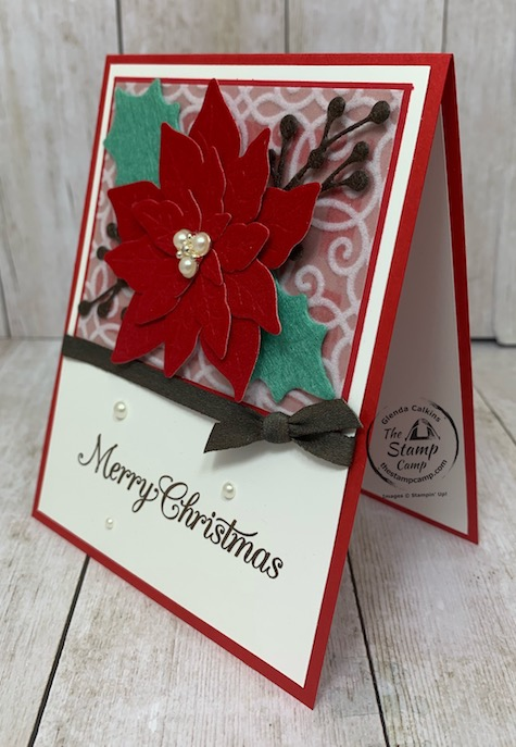 Have you ever tried the Red Velvet Paper or the Felt Sheets yet? They cut and emboss so pretty! With the Poinsettia Petals Bundle you can create some beautiful poinsettia and leaves because not only do they cut but emboss the image into the velvet or felt. Details can be found here: https://wp.me/p59VWq-bxA. #stampinup #thestampcamp #poinsettiapetals #christmas