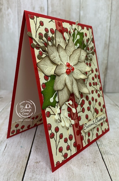 Saturday Sketch challenge using Splitcoaststampers sketch for October 2020. I used the Poinsettia Place bundle to create my card. More details can be found and ordering available on my blog here: https://wp.me/p59VWq-bwr. #stampinup #thestampcamp #poinsettia