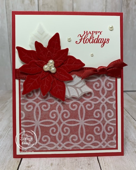 Another Poinsettia Petals card this time for a sketch challenge. I'm loving the Red Velvet for these Poinsettias and the flocking vellum is beautiful with it as well. Details can be found on my blog here: https://wp.me/p59VWq-bya. #stampinup #poinsettia #thestampcamp #christmascard