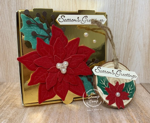 I love the Poinsettia Petals Bundle with the Red Velvet Paper oh so pretty! Pair it with the Gold Boxes and Oh My Gosh what a beautiful gift box. Inside is a handmade ornament using the Poinsettia Petals and some wood ornaments I found on Amazon. #thestampcamp #stampinup #christmasornament #ornament
