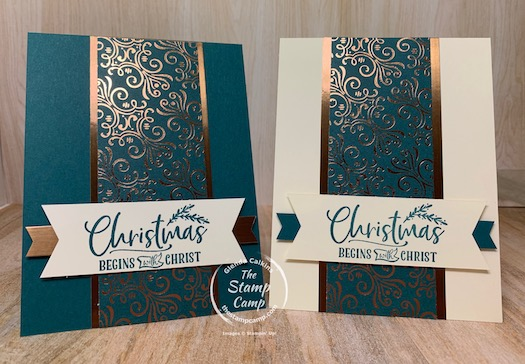 Saturday Sketch Challenge featuring the Brightly Gleaming Specialty Designer Series Paper from Stampin' Up! paired with the For Unto Us Stampin' Up! stamp set is the perfect combination for not only a quick and easy card but Oh so pretty! #thestampcamp #stampinup #christmas