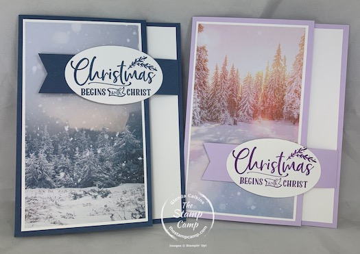 Fun Fold Friday - This week a super simple arm fold front flap. I paired this week's fun fold with the Feels Like Frost Specialty Designer Series Paper for some beautiful scenic cards for Christmas or change the sentiment for one of your choosing. #stampinup #thestampcamp #funfoldfriday #funfold