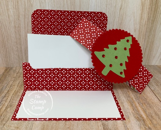 Need a quick and easy gift card holder? Look no further than this gift card holder. You will get 3 gift card holders out of 1 sheet of 12 x 12 designer paper. Perfect for Christmas or any other occasion. #thestampcamp #stampinup #giftcardholder