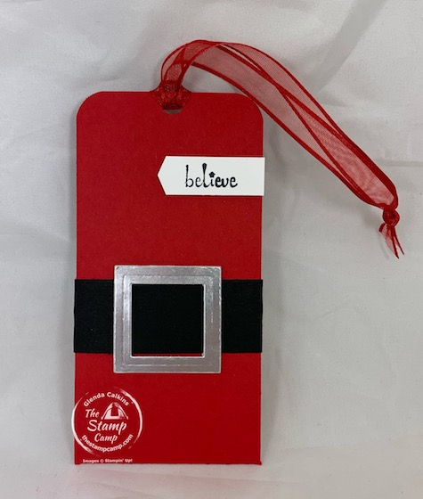 This Santa Tag and Gift Card Holder all in one are super simple to make and look great hanging on your tree or on top of your gifts. Decorate it up however you like. The Itty Bitty Christmas stamp set provides the perfect sentiments for your tags. #stampinup #thestampcamp #gifttag #giftcardholder