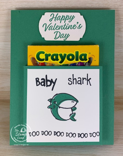 Make It Monday Accordion Baby Shark Coloring Book! A great handmade gift for Valentine's Day, Birthday's etc. The kids will love to color all the shark pages and the best part is the crayons are attached to the front. #thestampcamp #stampinup #babyshark #diy