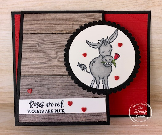 Stampin' Up! got the name right when they titled the Darling Donkeys stamp set with Darling; aren't they just the cutest little donkeys? You know this little guy is my favorite! Maybe because Valentine's day is just around the corner. #thestampcamp #stampinup #darlingdonkeys