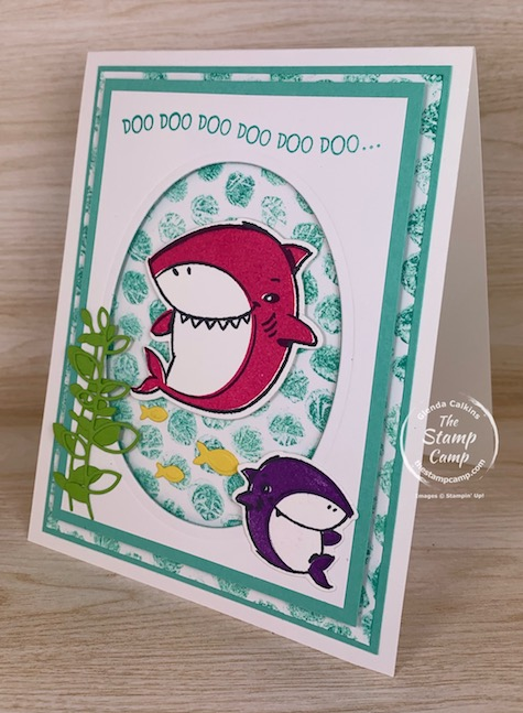Have you ever tried the Bubble Wrap Background technique? This is the perfect technique to do with the Shark Frenzy stamp set from Stampin' Up! #thestampcamp #stampinup #babyshark