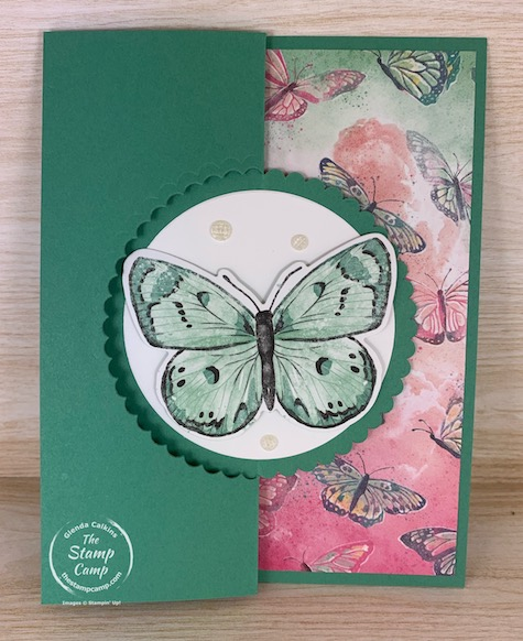 You are going to flip for this fun fold card! It is a front flip card that is so easy to create, featuring the Butterfly Brilliance Bundle from Stampin' Up! #thestampcamp #stampinup #funfold