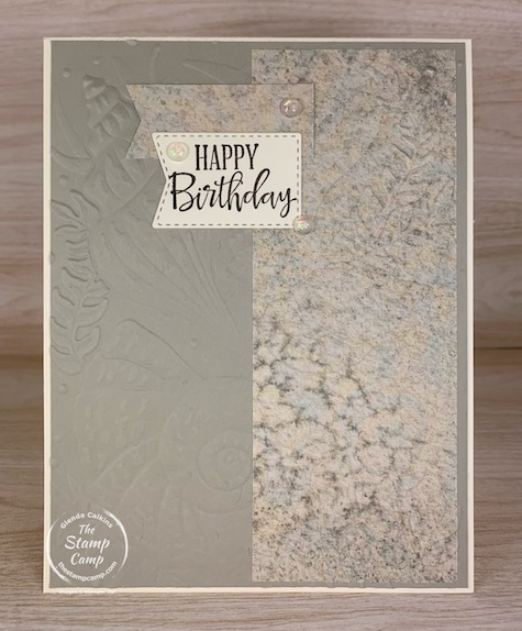 Why not let the beauty of the Seashell 3D embossing folder be the focal point to your card. Pair it with the Sand & Sea Designer Series Paper for the win! #thestampcamp #stampinup #cardsketch