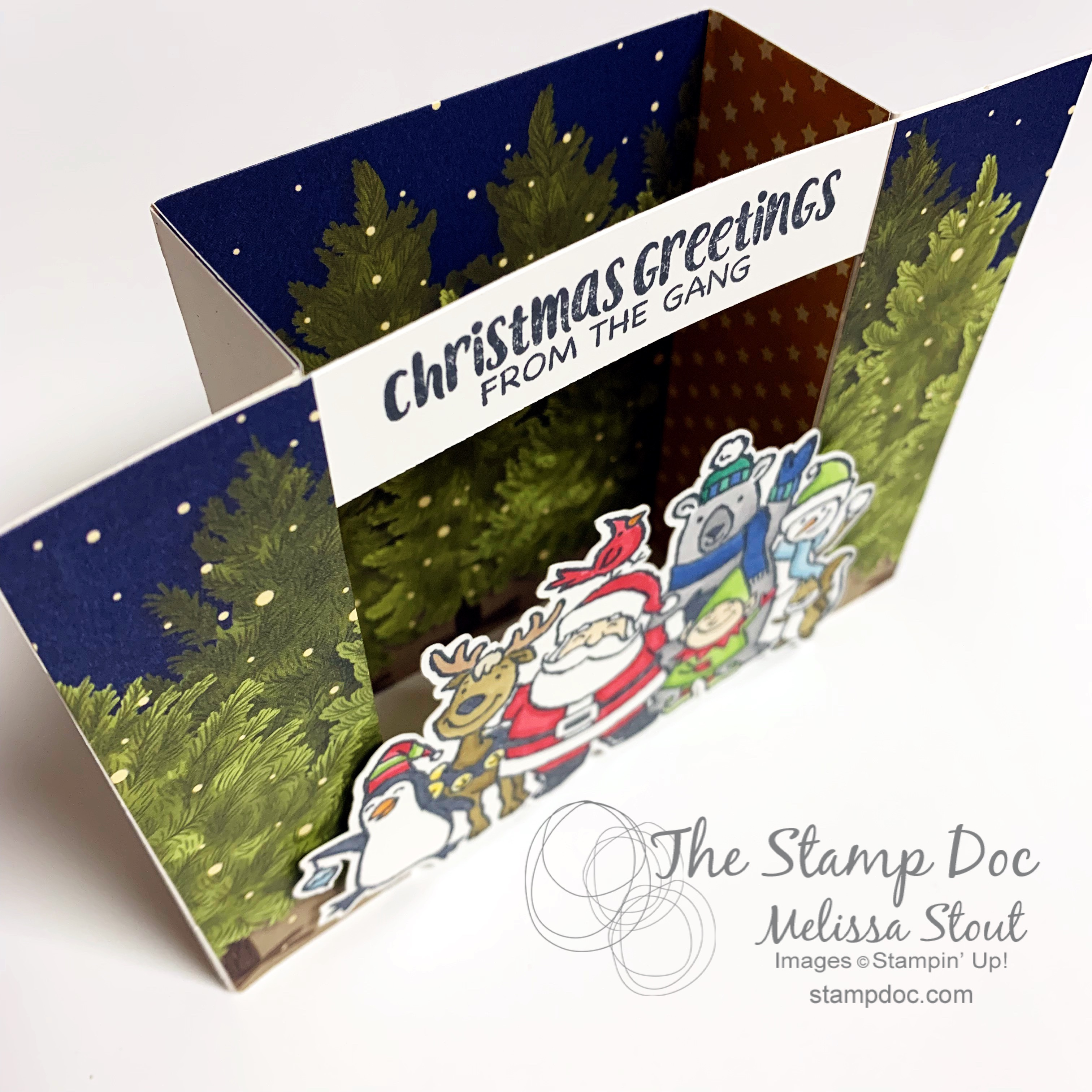 Christmas Crowd Bridge Card Top View The Stamp Doc