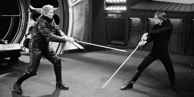 Bob Anderson and Mark Hamill face off in rehearsal.