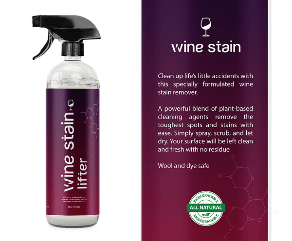 Stain Lifter Wine stain bottle and label