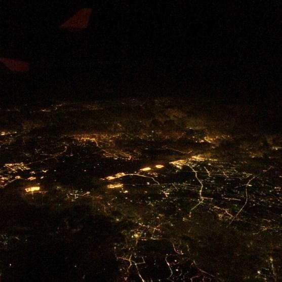 The Chinese city of Guangzhou below clouds