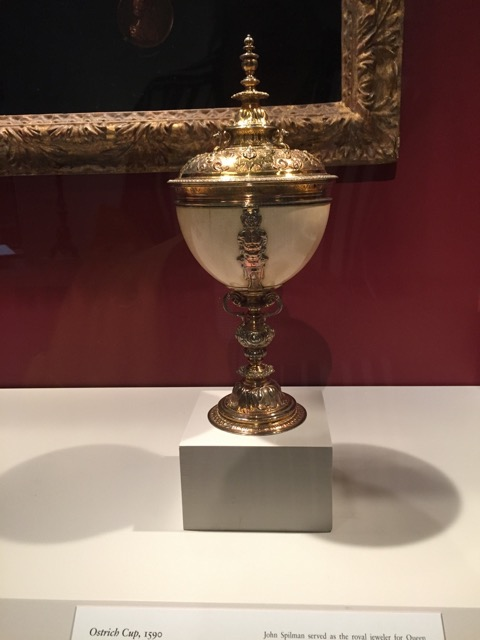 Ostrich Cup, 1590. By John Spilman, London. Silver gilt + ostrich egg