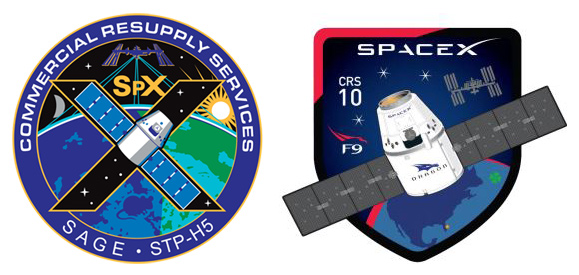 SpaceX and NASA CRS-10 mission patches