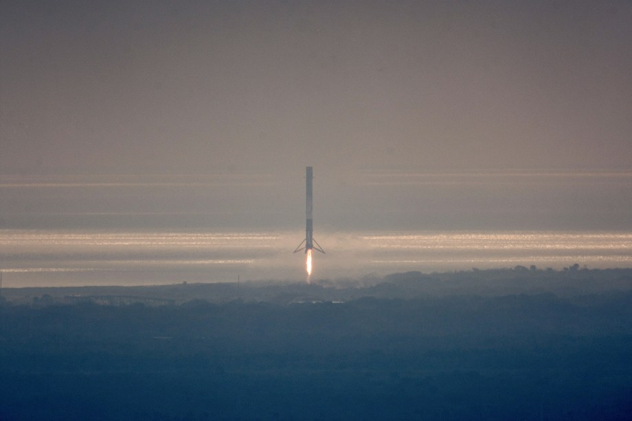 SpaceX Falcon 9 moments before landing on February 19, 2017