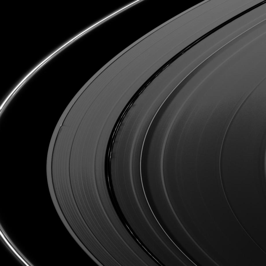 Shadows cast on Saturn's A ring.