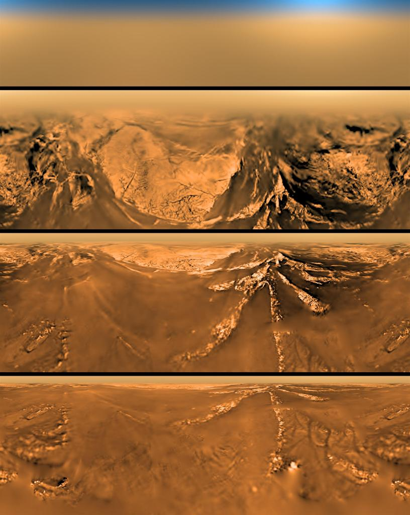 Four images obtained at different altitudes during Titan's descent