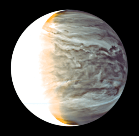 False color image of cloud patterns on the night side of Venus taken by the Akatsuki's IR2 camera. Thicker clouds are expressed as darker because thick clouds hamper infrared lights coming from the lower layer of the atmosphere.