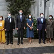 Queen Letizia of Spain stunned in a royal blue midi dress and protective mask as she joined King Felipe at the opening of an exhibition for the Spanish writer Miguel Delibes tonight (pictured, with Spanish Minister of Culture and Sports, Jose Manuel Rodriguez Uribes, third left, and the regional president of Castilla y Leon, Alfonso Fernandez Maueco, third right)