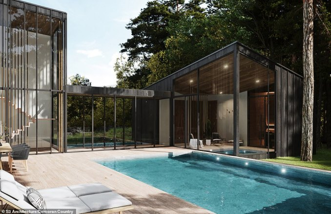 SWIMMING POOL: The pool will be mainly outdoors, with space for deckchairs on the waterside, and partly inside a 'pool house'. The pictures in this series are artist's impressions of a property which is due for completion in 2021
