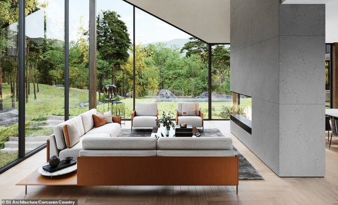 LIVING ROOM: This design imagines a comfortable setting with chairs and sofas on the ground floor of the main building