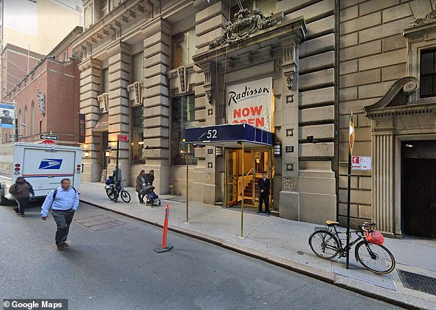 New York City's Department of Homeless Services announced last month that roughly 300 people living at a makeshift shelter in the Lucerne Hotel will be moved to a Radisson hotel in the Financial District (pictured) after Upper West Side residents complained