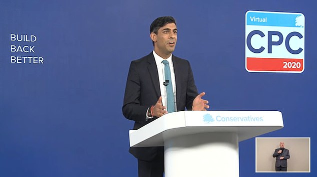 Mr Sunak was addressing the conference from behind a podium even though it is being held virtually due to the pandemic