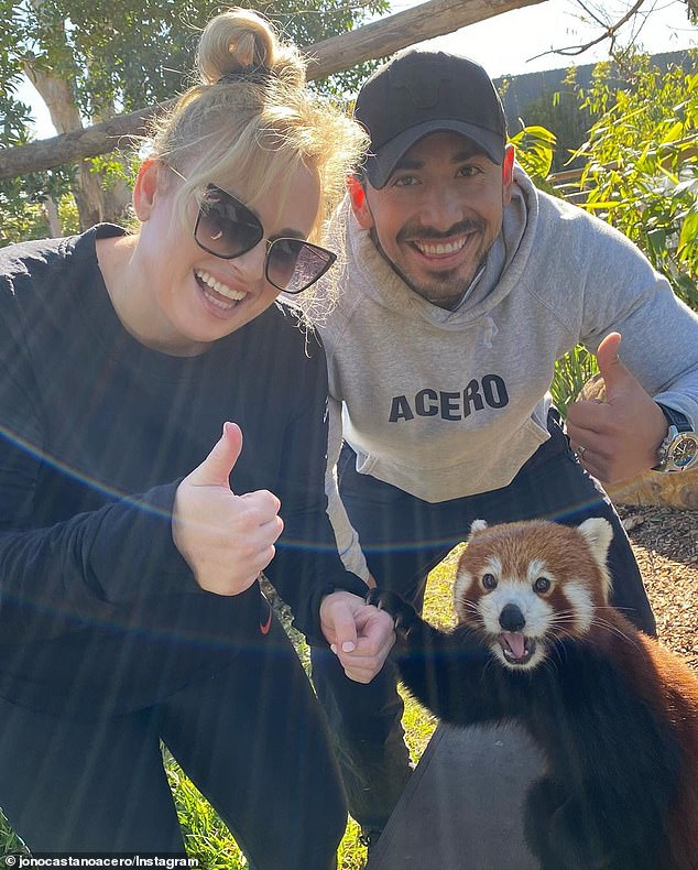 Fit and fabulous:He recommends 45 minutes of exercise five days a week, combined with a healthy diet, in order to achieve weight loss. Pictured: Jono and Rebel on June 30