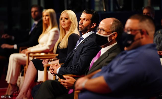 epa08707093 Members of the Trump family (L-R) Eric Trump, Ivanka Trump, Tiffany Trump and Donald Trump Jr. in the audience shortly before US President Donald J. Trump and Democratic presidential candidate Joe Biden participate in the first 2020 presidential election debate at Samson Pavilion in Cleveland, Ohio, USA, 29 September 2020. Biden said he could see them without their masks from the debate stage