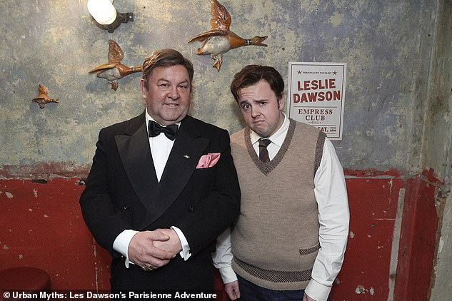 The new series puts a comedic spin on a host of scandalous, surprising and surreal urban legends involving the arts world's most iconic figures. Pictured, Mark Addy (left) and John Bradley (right) who were cast to play the comedian throughout his life