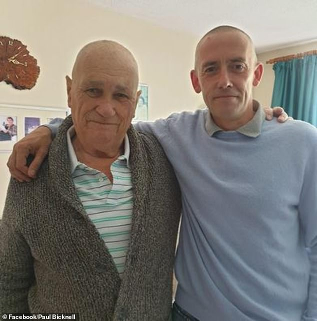 The late Alan Wright pictured with his son Paul. The family say that they were left devastated by the incident, which made an already painful day even 'worse'