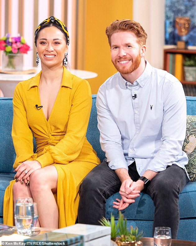 It's over: Katya and 38-year-old Neil Jones's six-year marriage ended in 2019 months after pictures emerged of her kissing her dance partner Seann on a night out (pictured together in 2019)