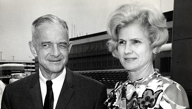 Roberta McCain, right, with her husband Admiral John McCain Jr, left, at a London airport in July 1968