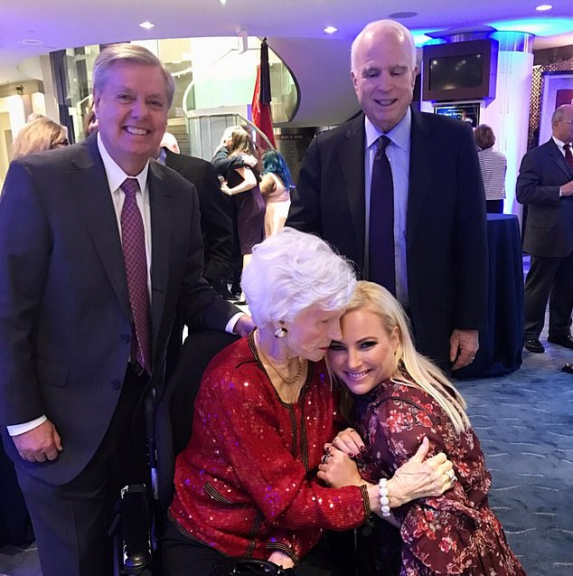 Meghan McCain, bottom right, with her grandmother Roberta. John McCain, who died last August, is top right with his Republican Senate colleague Lindsey Graham, top left