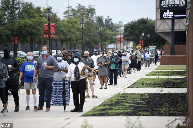 People showed up by the hundreds to cast their ballot early at the Bell Auditorium in Augusta
