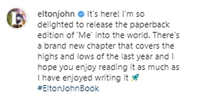 Biography:According to The Sun , Elton has addressed their feud in a new chapter from the paperback version of his autobiography called Me, which he teased on his Instagram on Tuesday