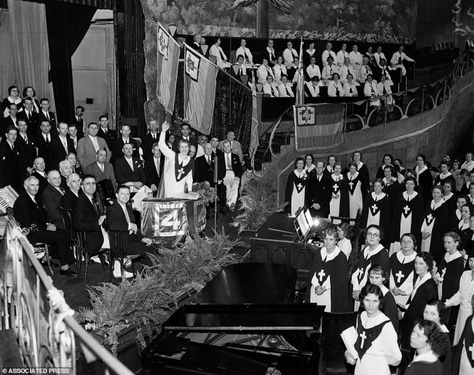 Evangelist Aimee Semple McPherson ordains more than 200 ministers in her Foursquare Gospel Church on June 28, 1936