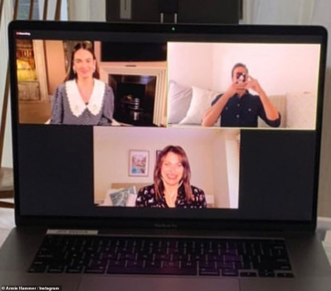 Working hard:Lily returned to work on Tuesday evening as the Dominic scandal raged on, as she joined her Rebecca co-star Armie Hammer on a video call to promote the upcoming movie