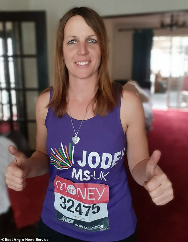 She kept going because she did not want to let down her sponsors who were donating more than £2,100 to multiple sclerosis charity MS-UK in return for her finishing the race