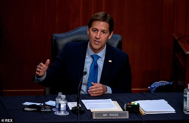 Sasse tossed softball questions to Amy Coney Barrett in her confirmation hearing, asking why the nation has a Bill of Rights and allowed her to name the 'five freedoms' from the First Amendment (she came up with four)